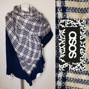 BIG Rectangle SOFT Blanket Scarf Navy Cream Plaid